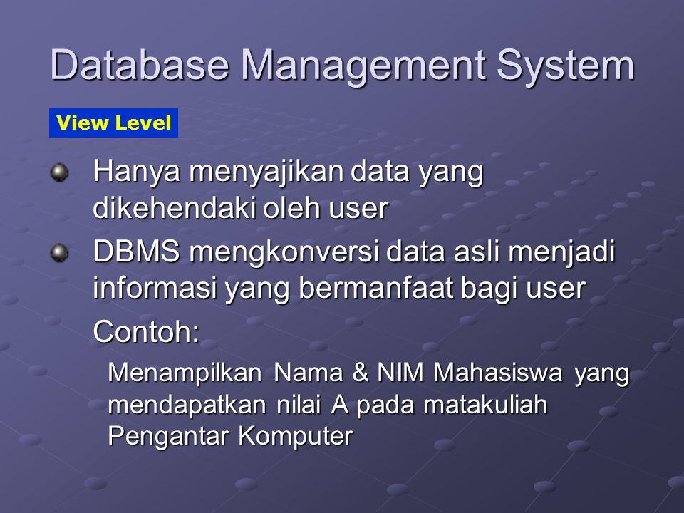 Database Management System Hanya menyajikan data yang dikehendaki oleh user DBMS mengkonversi data asli menjadi informasi yang bermanfaat bagi user Co