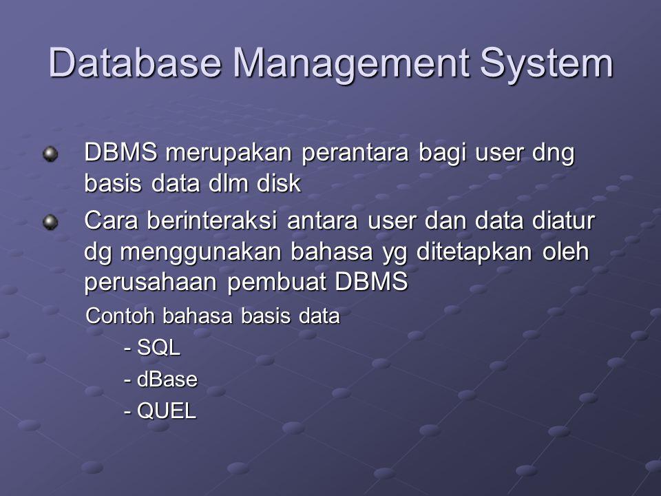 Database Management System DBMS merupakan perantara bagi user dng basis data dlm disk Cara berinteraksi antara user dan data diatur dg menggunakan bah