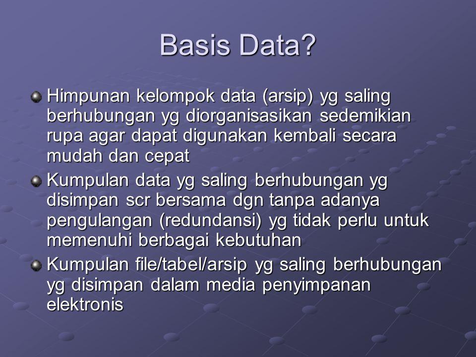 Basis Data? Himpunan kelompok data (arsip) yg saling berhubungan yg diorganisasikan sedemikian rupa agar dapat digunakan kembali secara mudah dan cepa