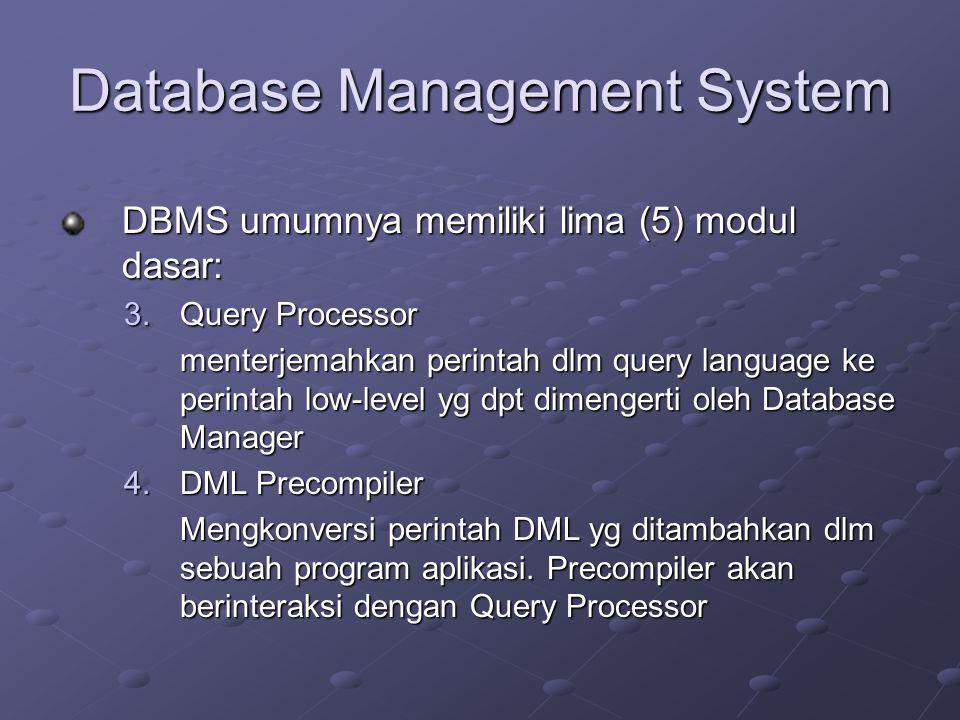 Database Management System DBMS umumnya memiliki lima (5) modul dasar: 3.Query Processor menterjemahkan perintah dlm query language ke perintah low-le