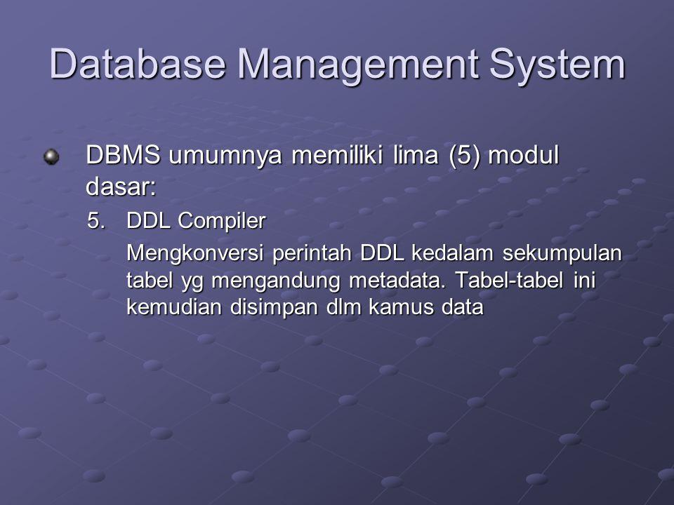 Database Management System DBMS umumnya memiliki lima (5) modul dasar: 5.DDL Compiler Mengkonversi perintah DDL kedalam sekumpulan tabel yg mengandung