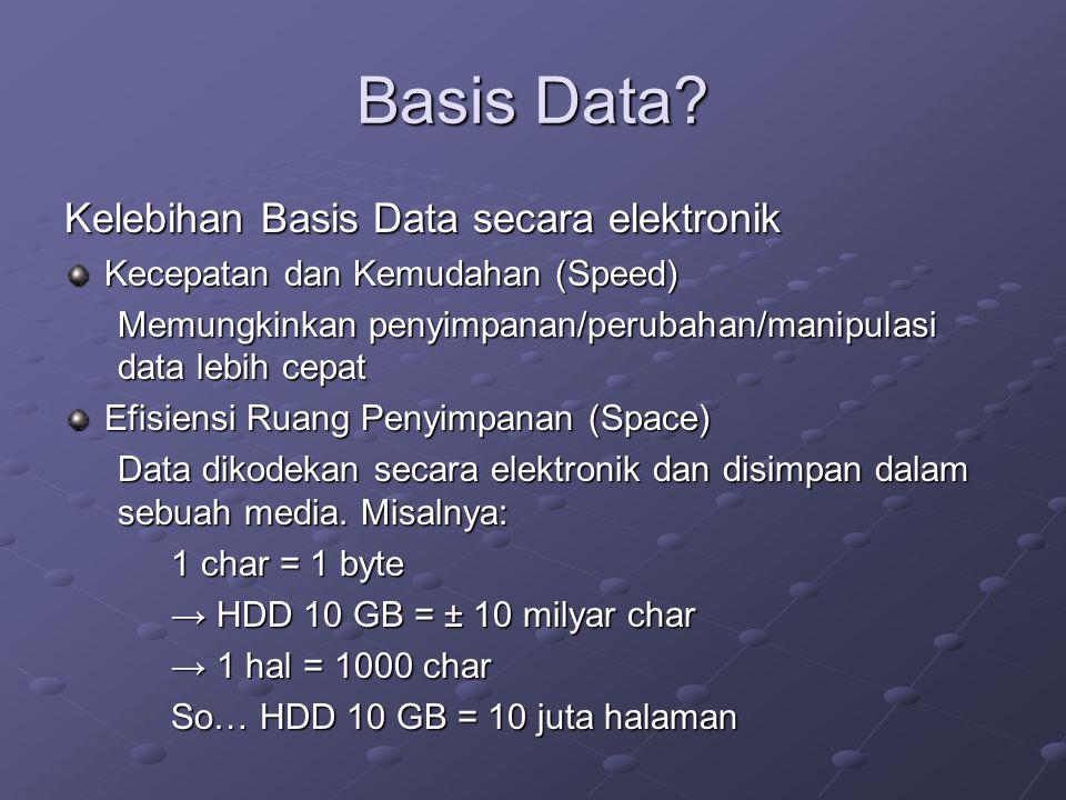 Basis Data? Kelebihan Basis Data secara elektronik Kecepatan dan Kemudahan (Speed) Memungkinkan penyimpanan/perubahan/manipulasi data lebih cepat Efis