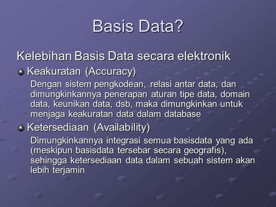 Basis Data? Kelebihan Basis Data secara elektronik Keakuratan (Accuracy) Dengan sistem pengkodean, relasi antar data, dan dimungkinkannya penerapan at