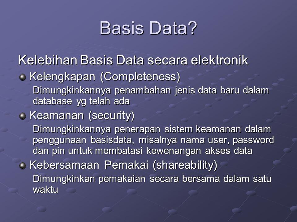 Basis Data? Kelebihan Basis Data secara elektronik Kelengkapan (Completeness) Dimungkinkannya penambahan jenis data baru dalam database yg telah ada K