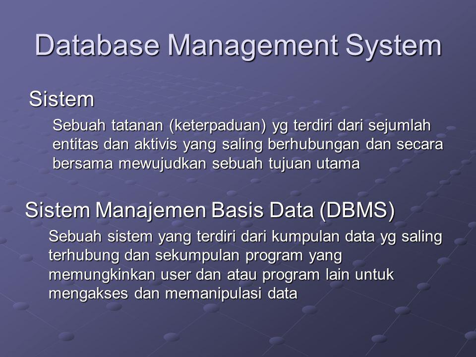 Database Management System Sistem Sebuah tatanan (keterpaduan) yg terdiri dari sejumlah entitas dan aktivis yang saling berhubungan dan secara bersama