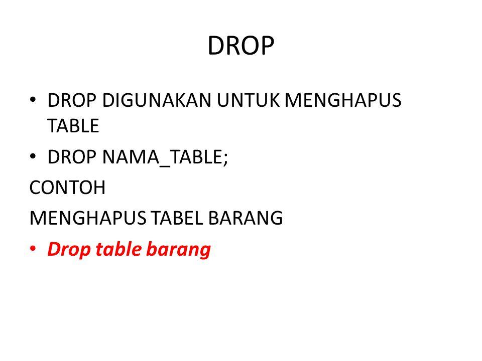 DROP DROP DIGUNAKAN UNTUK MENGHAPUS TABLE DROP NAMA_TABLE; CONTOH MENGHAPUS TABEL BARANG Drop table barang