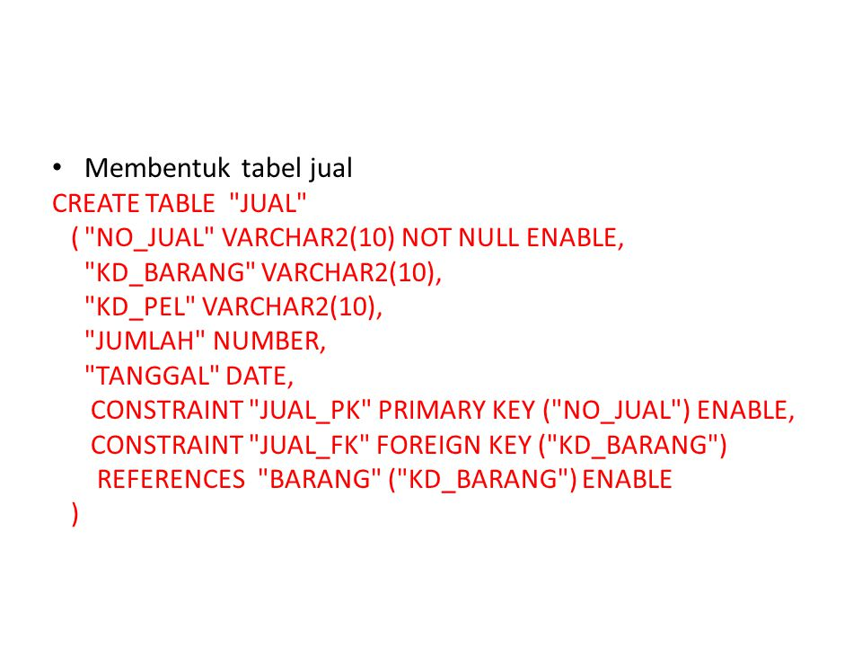 Membentuk tabel jual CREATE TABLE