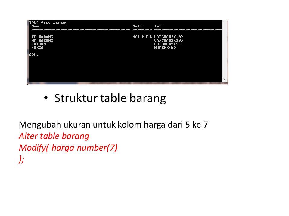 Struktur table barang Mengubah ukuran untuk kolom harga dari 5 ke 7 Alter table barang Modify( harga number(7) );