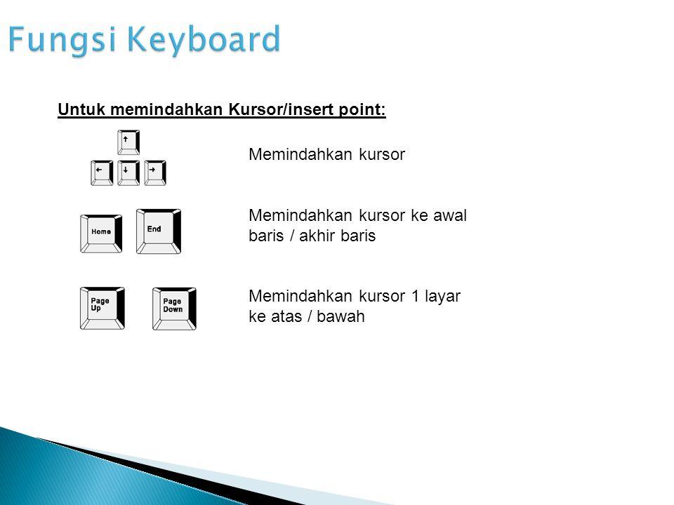 Fungsi Keyboard Untuk memindahkan Kursor/insert point: Memindahkan kursor Memindahkan kursor ke awal baris / akhir baris Memindahkan kursor 1 layar ke