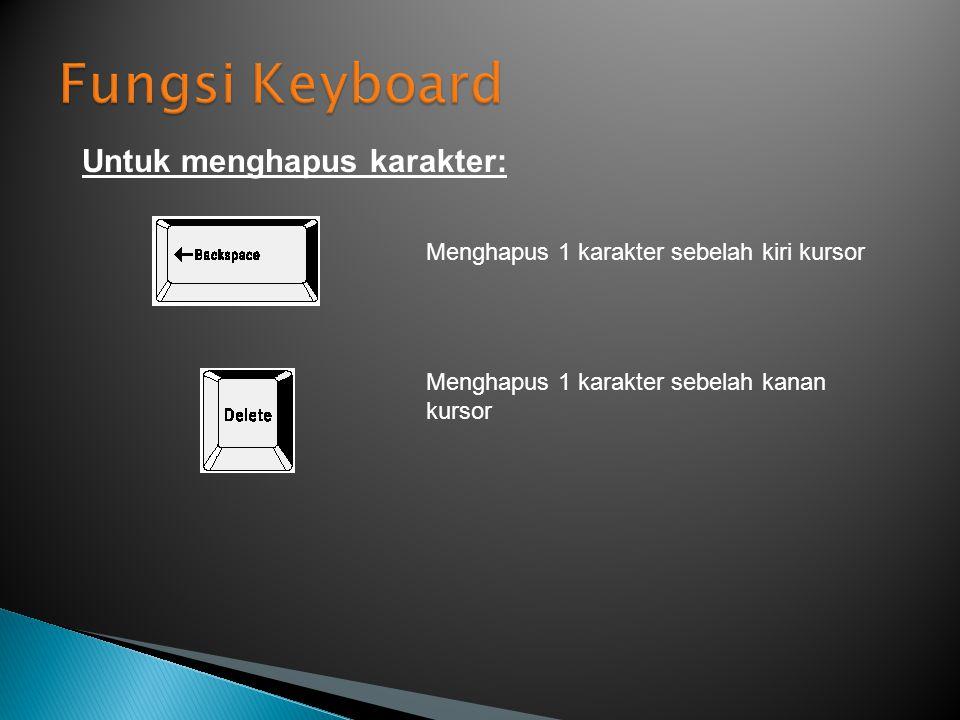 Untuk menghapus karakter: Menghapus 1 karakter sebelah kiri kursor Menghapus 1 karakter sebelah kanan kursor