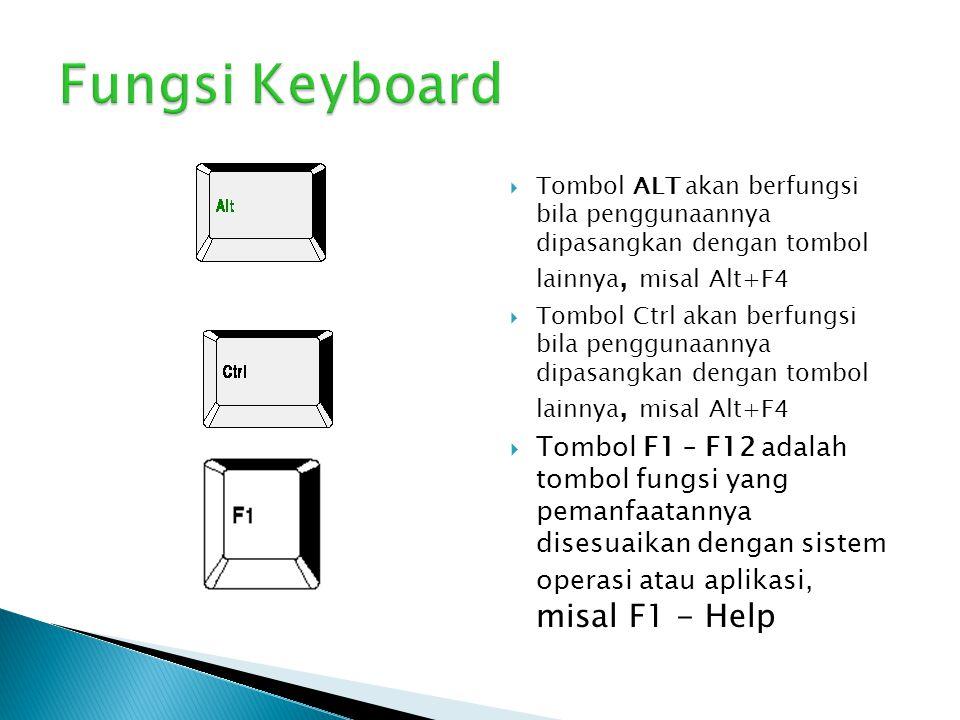  Tombol ALT akan berfungsi bila penggunaannya dipasangkan dengan tombol lainnya, misal Alt+F4  Tombol Ctrl akan berfungsi bila penggunaannya dipasan