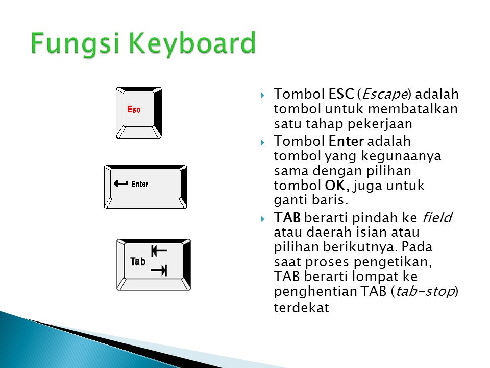  Tombol ESC (Escape) adalah tombol untuk membatalkan satu tahap pekerjaan  Tombol Enter adalah tombol yang kegunaanya sama dengan pilihan tombol OK,