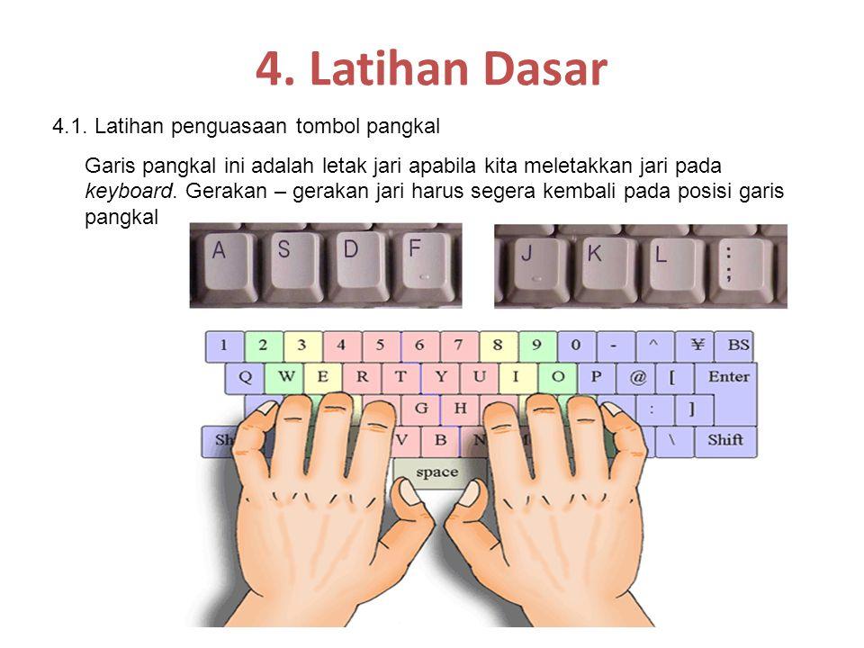 4. Latihan Dasar 4.1. Latihan penguasaan tombol pangkal Garis pangkal ini adalah letak jari apabila kita meletakkan jari pada keyboard. Gerakan – gera