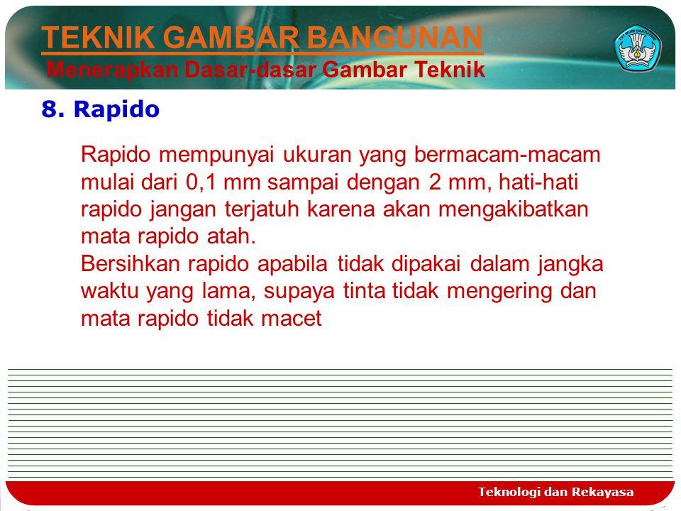 Teknologi dan Rekayasa 8. Rapido Rapido mempunyai ukuran yang bermacam-macam mulai dari 0,1 mm sampai dengan 2 mm, hati-hati rapido jangan terjatuh ka