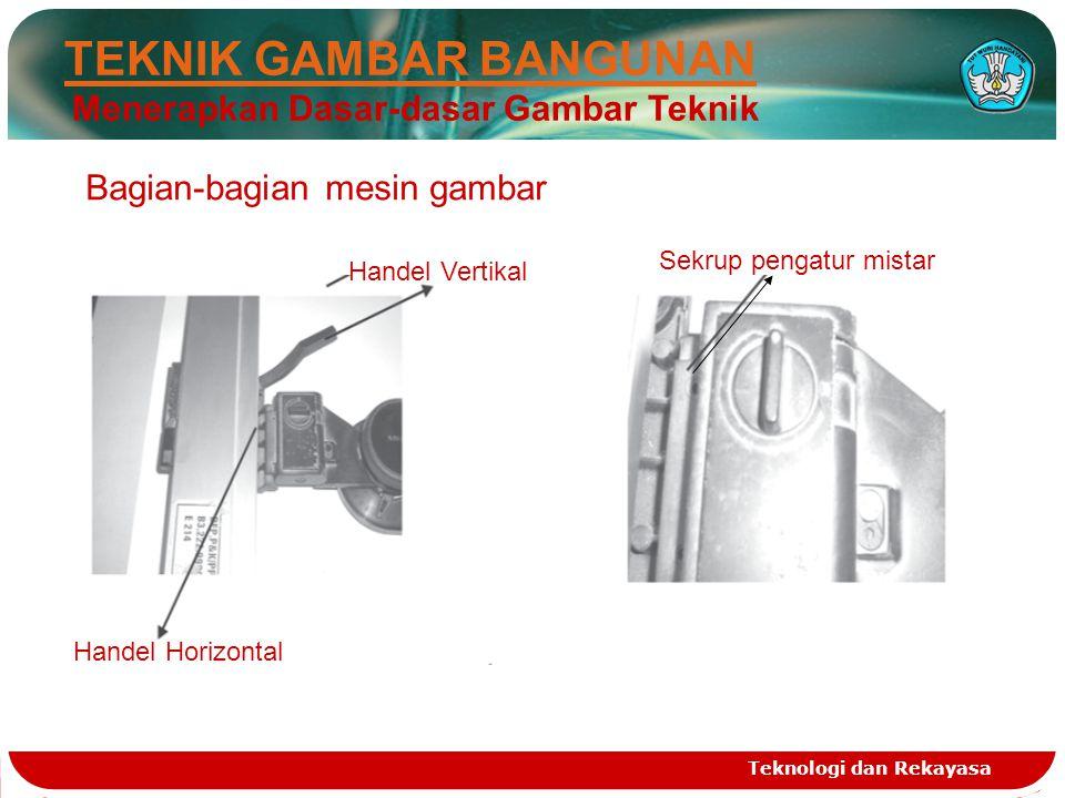 Teknologi dan Rekayasa Bagian-bagian mesin gambar Handel Vertikal Handel Horizontal Sekrup pengatur mistar TEKNIK GAMBAR BANGUNAN Menerapkan Dasar-dasar Gambar Teknik