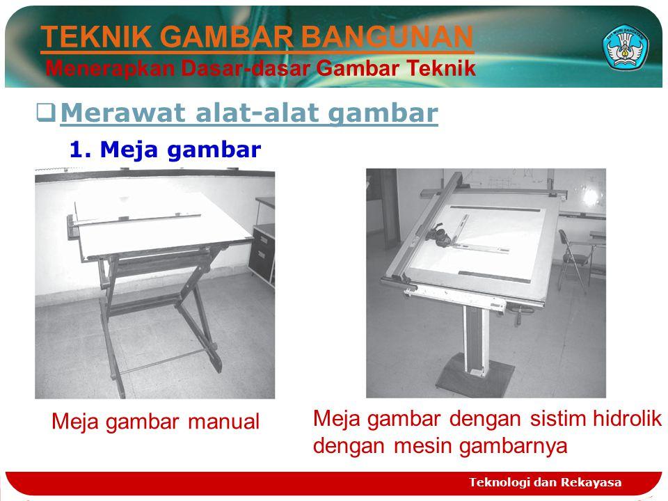 Teknologi dan Rekayasa Meja gambar dengan sistim hidrolik dengan mesin gambarnya Meja gambar manual  Merawat alat-alat gambar 1. Meja gambar TEKNIK G
