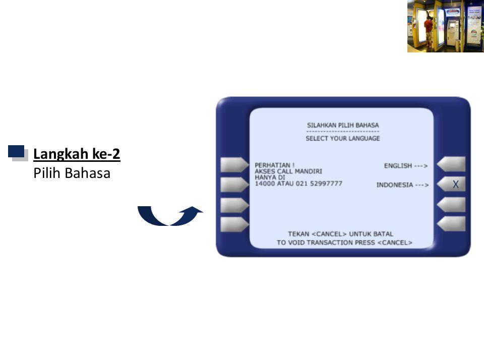 Mandiri ATM X SILAHKAN PILIH BAHASA SELECT YOUR LANGUAGE Langkah ke-2 Pilih Bahasa X
