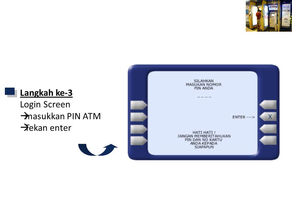 Mandiri ATM Langkah ke-3 Login Screen  masukkan PIN ATM  Tekan enter X