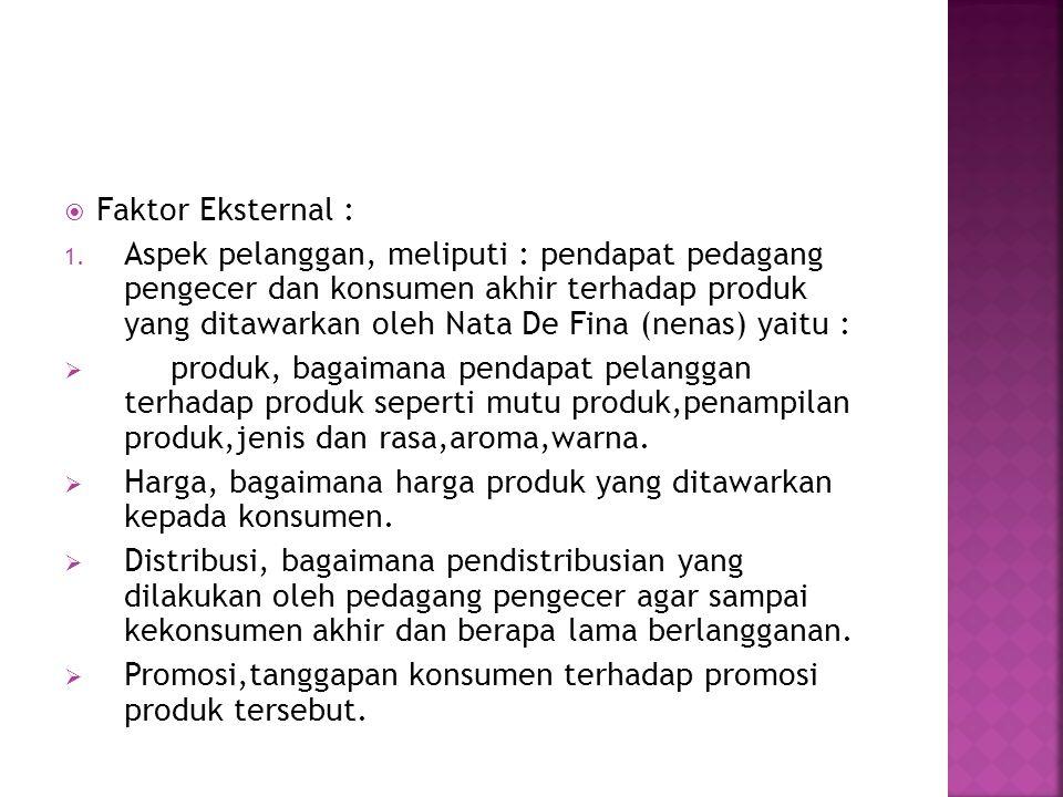  Faktor Eksternal : 1. Aspek pelanggan, meliputi : pendapat pedagang pengecer dan konsumen akhir terhadap produk yang ditawarkan oleh Nata De Fina (n