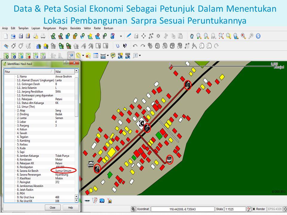 Data & Peta Sosial Ekonomi Sebagai Petunjuk Dalam Menentukan Lokasi Pembangunan Sarpra Sesuai Peruntukannya
