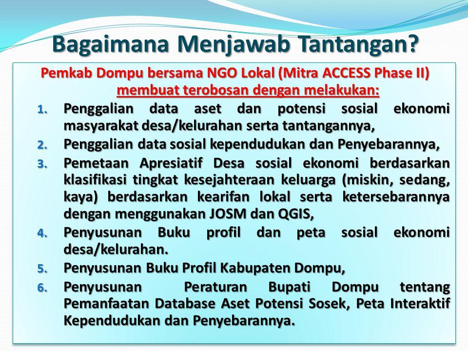 Manfaat Database & Peta Sosial Ekonomi Manfaat Database & Peta Sosial Ekonomi  Bagi Pemerintah Daerah:  Pemda dapat mensinergikan perencanaan lintas sektoral secara integral dan komprehensif.