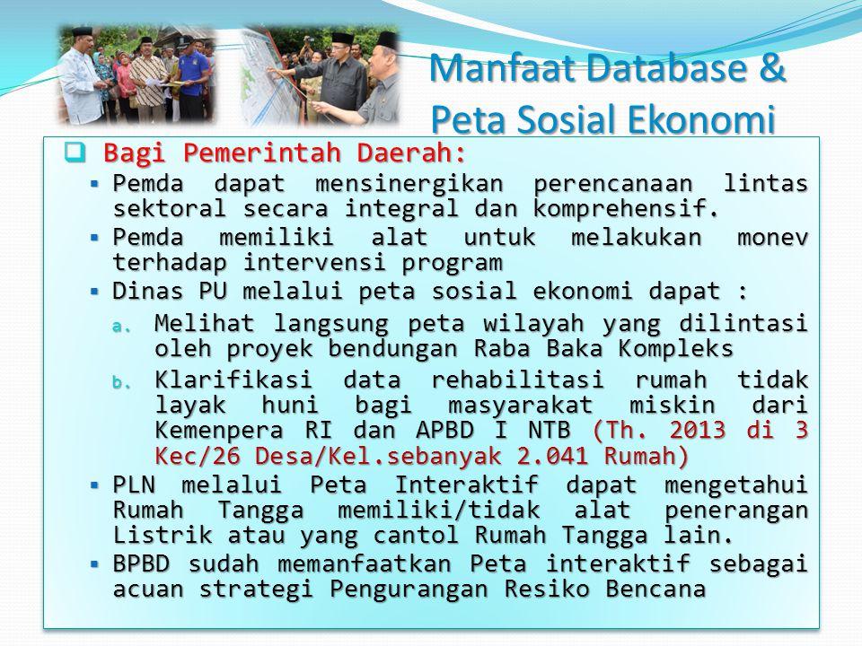 Manfaat Database & Peta Sosial Ekonomi Manfaat Database & Peta Sosial Ekonomi  Bagi Pemerintah Daerah:  Pemda dapat mensinergikan perencanaan lintas