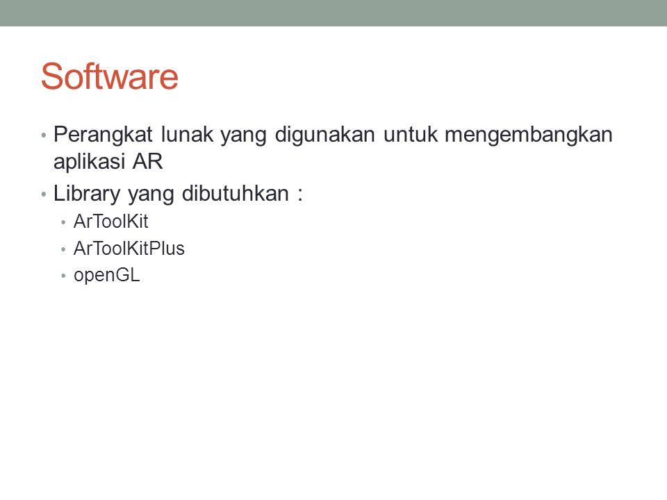 Software Perangkat lunak yang digunakan untuk mengembangkan aplikasi AR Library yang dibutuhkan : ArToolKit ArToolKitPlus openGL