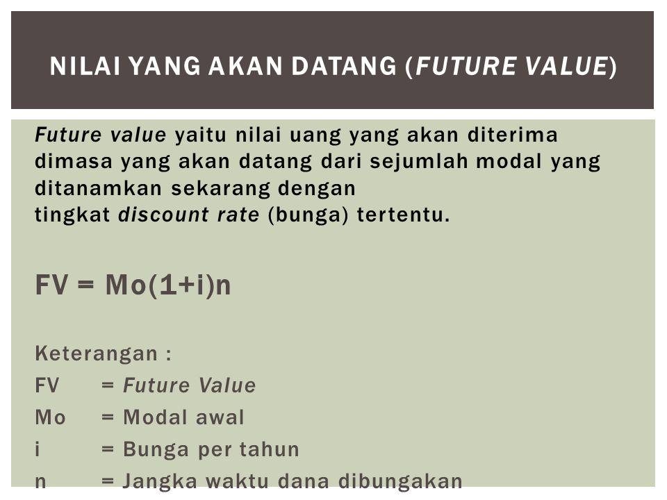 Future value yaitu nilai uang yang akan diterima dimasa yang akan datang dari sejumlah modal yang ditanamkan sekarang dengan tingkat discount rate (bu