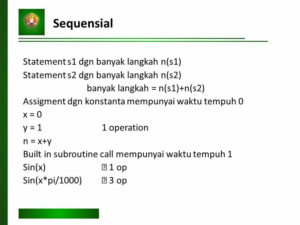 Sequensial Statement s1 dgn banyak langkah n(s1) Statement s2 dgn banyak langkah n(s2) banyak langkah = n(s1)+n(s2) Assigment dgn konstanta mempunyai waktu tempuh 0 x = 0 y = 1 1 operation n = x+y Built in subroutine call mempunyai waktu tempuh 1 Sin(x)  1 op Sin(x*pi/1000)  3 op