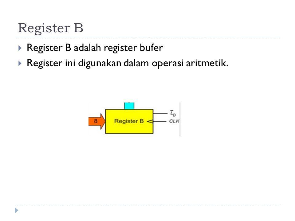 Register B  Register B adalah register bufer  Register ini digunakan dalam operasi aritmetik.