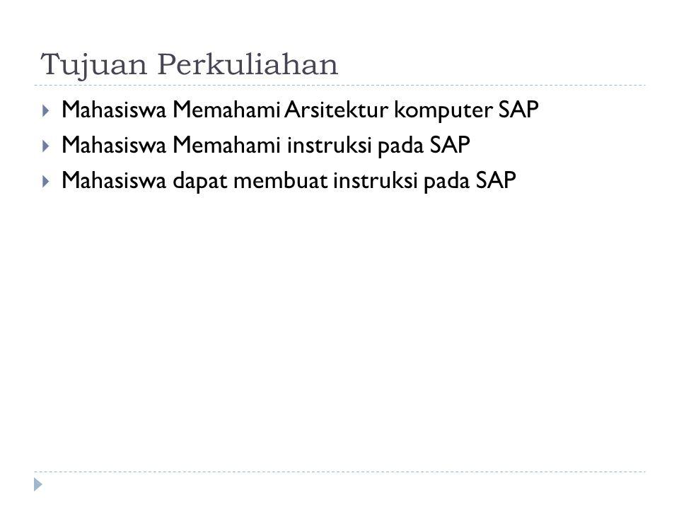 Tujuan Perkuliahan  Mahasiswa Memahami Arsitektur komputer SAP  Mahasiswa Memahami instruksi pada SAP  Mahasiswa dapat membuat instruksi pada SAP