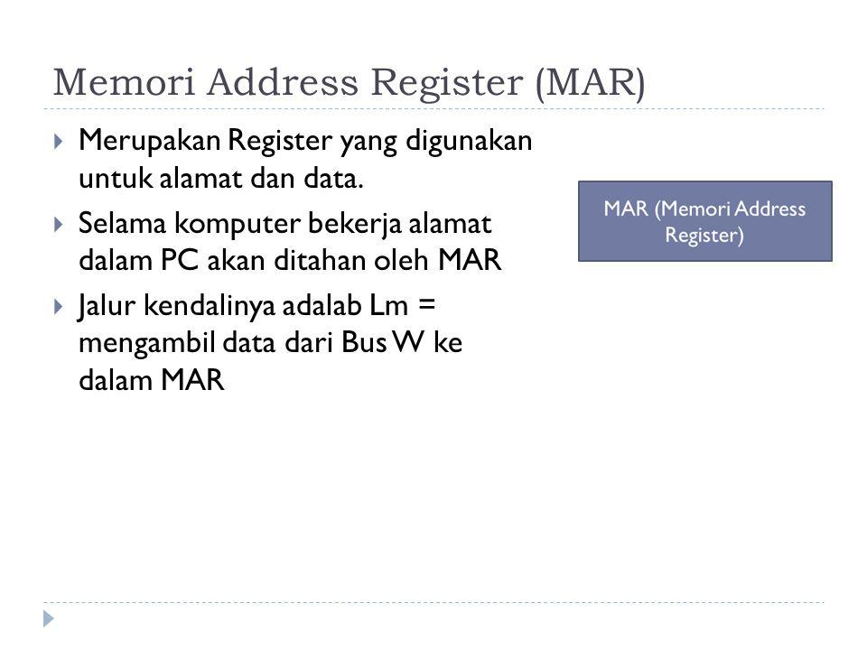 Memori Address Register (MAR)  Merupakan Register yang digunakan untuk alamat dan data.  Selama komputer bekerja alamat dalam PC akan ditahan oleh M