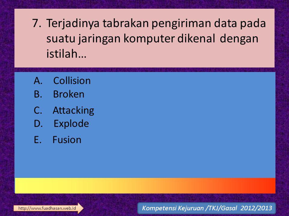 7. Terjadinya tabrakan pengiriman data pada suatu jaringan komputer dikenal dengan istilah… A. Collision B. Broken C. Attacking D. Explode E. Fusion K