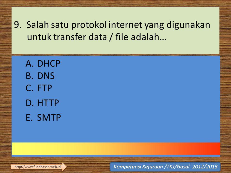 9. Salah satu protokol internet yang digunakan untuk transfer data / file adalah… A.DHCP B.DNS C.FTP D.HTTP E.SMTP Kompetensi Kejuruan /TKJ/Gasal 2012