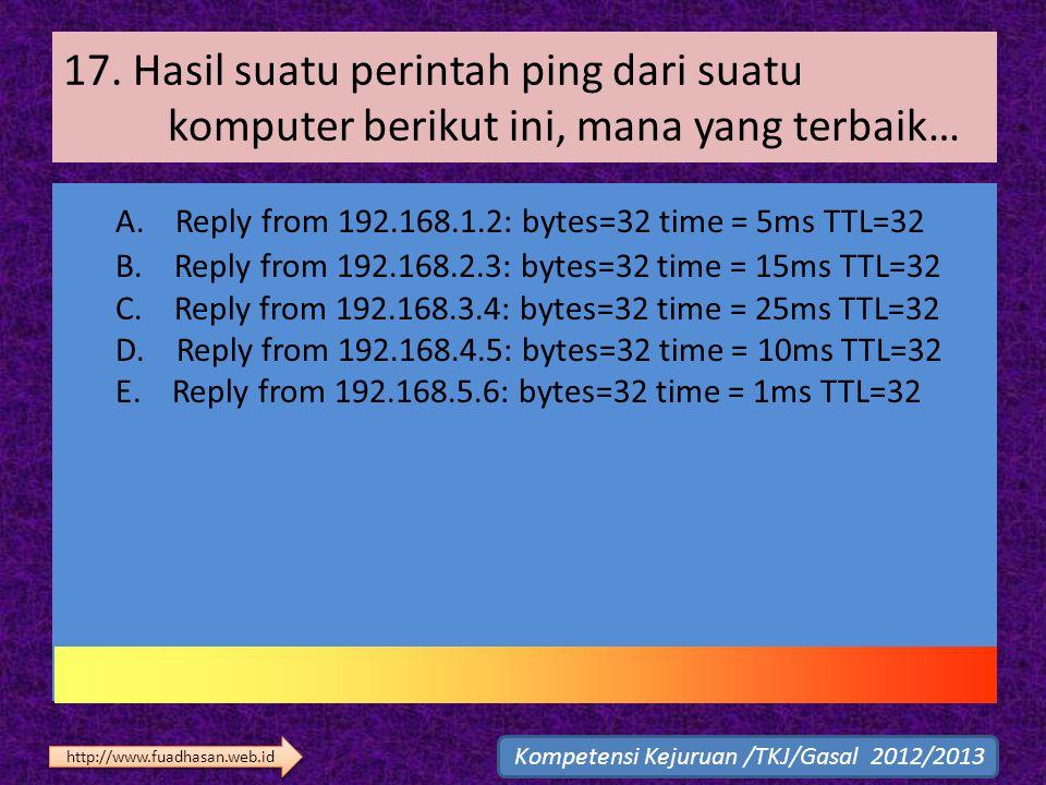 17. Hasil suatu perintah ping dari suatu komputer berikut ini, mana yang terbaik… A. Reply from 192.168.1.2: bytes=32 time = 5ms TTL=32 B. Reply from
