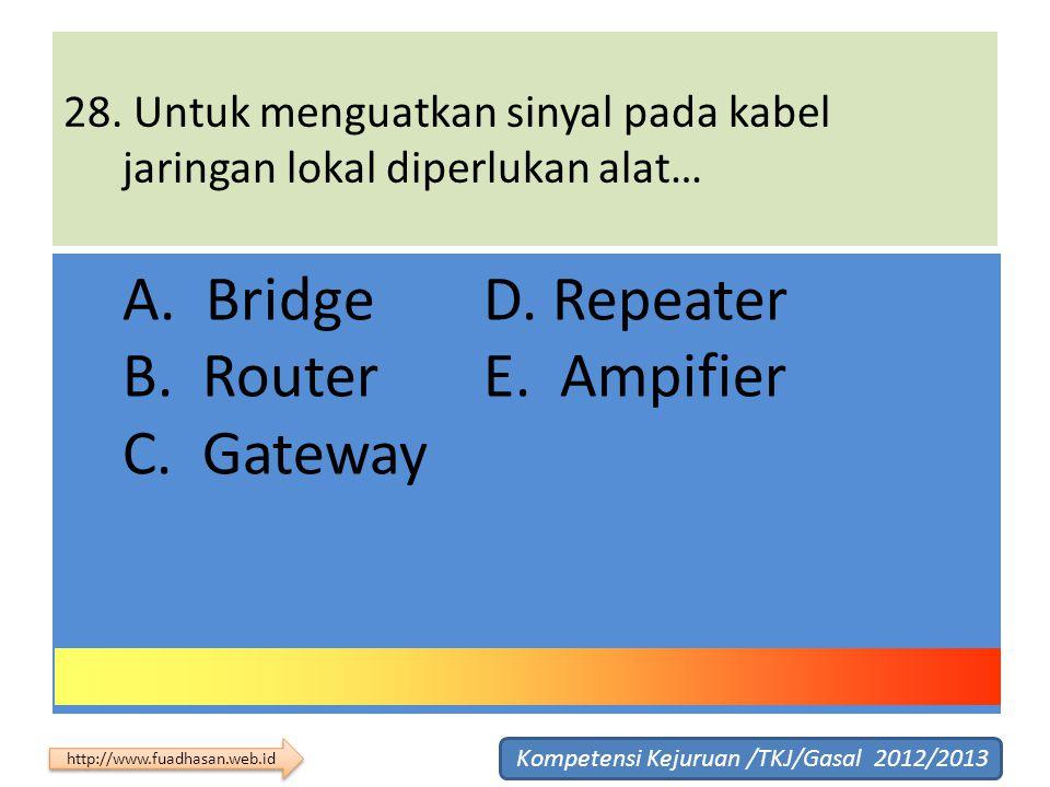 28. Untuk menguatkan sinyal pada kabel jaringan lokal diperlukan alat… A. Bridge D. Repeater B. Router E. Ampifier C. Gateway Kompetensi Kejuruan /TKJ