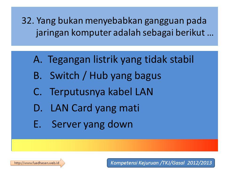 32. Yang bukan menyebabkan gangguan pada jaringan komputer adalah sebagai berikut … A. Tegangan listrik yang tidak stabil B. Switch / Hub yang bagus C