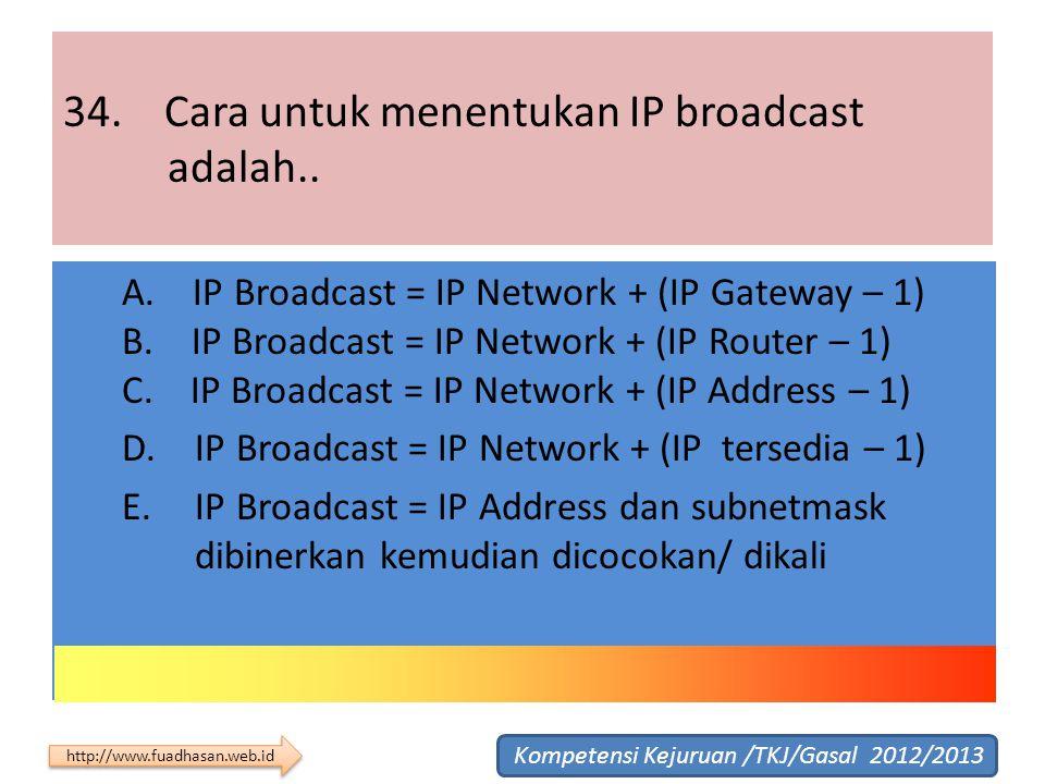 34. Cara untuk menentukan IP broadcast adalah.. A. IP Broadcast = IP Network + (IP Gateway – 1) B. IP Broadcast = IP Network + (IP Router – 1) C. IP B
