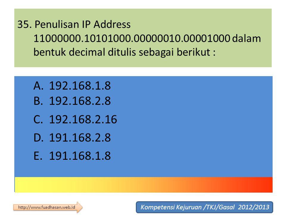 35. Penulisan IP Address 11000000.10101000.00000010.00001000 dalam bentuk decimal ditulis sebagai berikut : A. 192.168.1.8 B. 192.168.2.8 C. 192.168.2