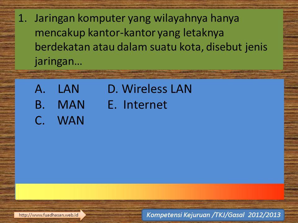 1.Jaringan komputer yang wilayahnya hanya mencakup kantor-kantor yang letaknya berdekatan atau dalam suatu kota, disebut jenis jaringan… A. LAN D. Wir