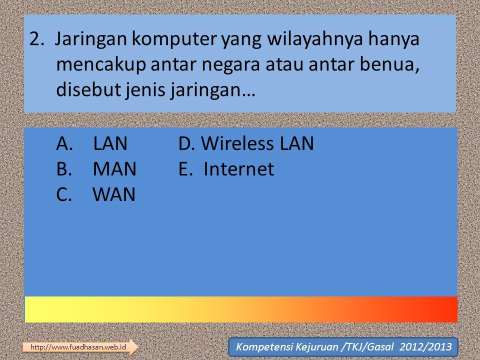 2. Jaringan komputer yang wilayahnya hanya mencakup antar negara atau antar benua, disebut jenis jaringan… A. LAN D. Wireless LAN B. MAN E. Internet C