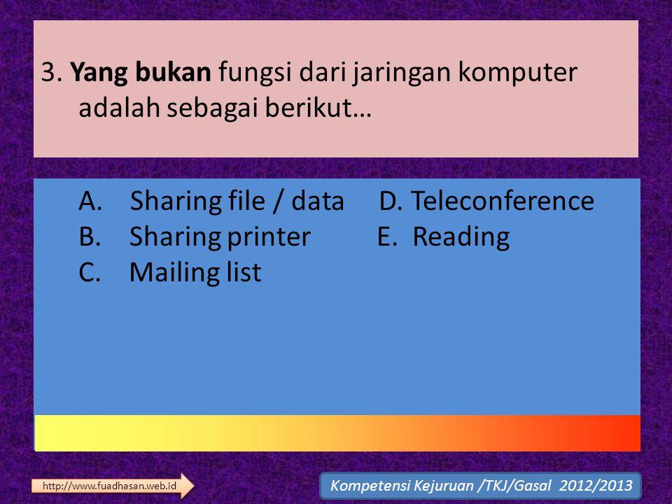 3. Yang bukan fungsi dari jaringan komputer adalah sebagai berikut… A. Sharing file / data D. Teleconference B. Sharing printer E. Reading C. Mailing