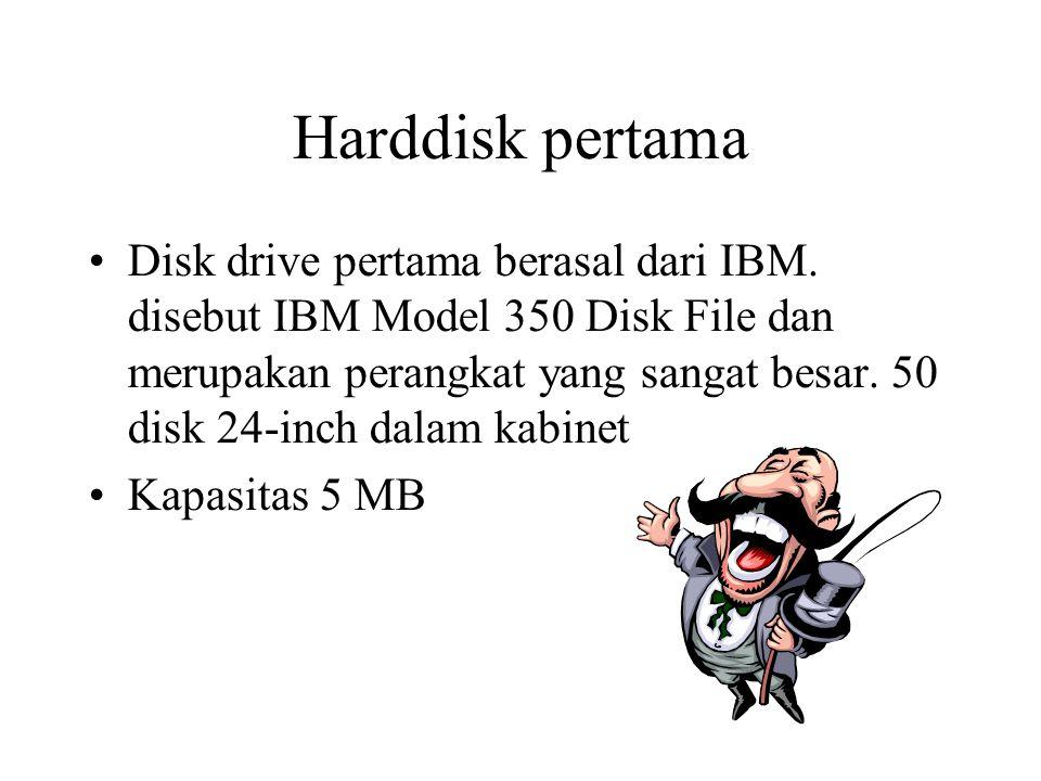 Harddisk pertama Disk drive pertama berasal dari IBM. disebut IBM Model 350 Disk File dan merupakan perangkat yang sangat besar. 50 disk 24-inch dalam