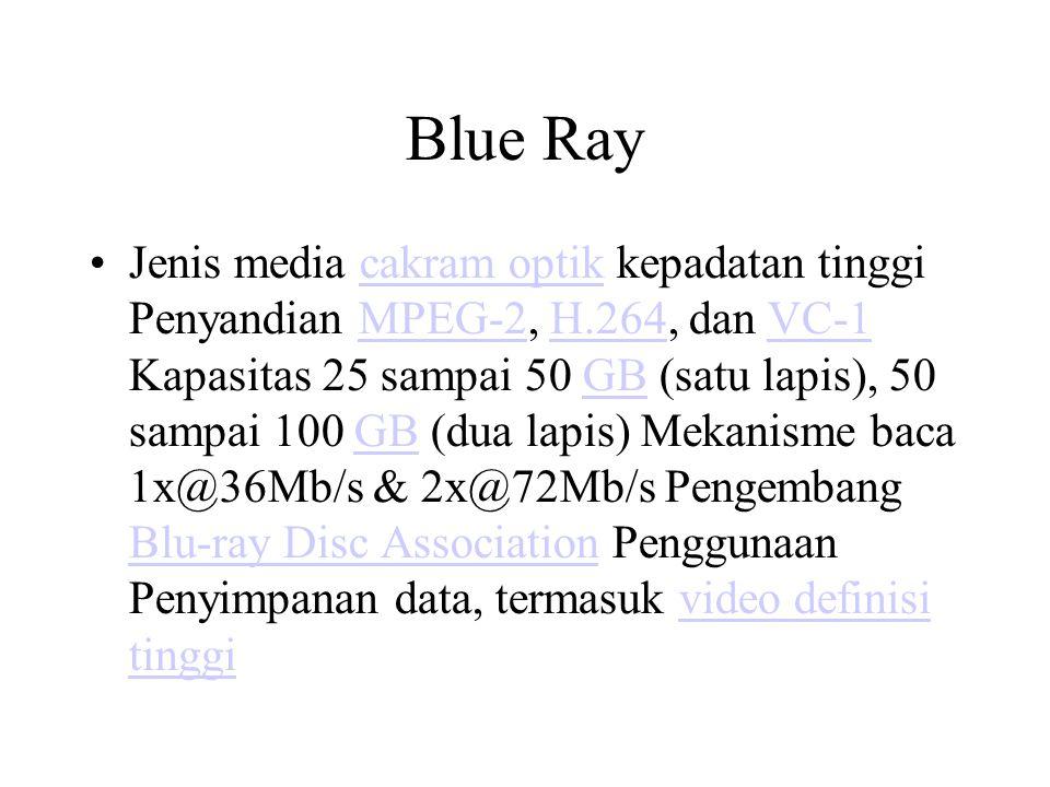 Blue Ray Jenis media cakram optik kepadatan tinggi Penyandian MPEG-2, H.264, dan VC-1 Kapasitas 25 sampai 50 GB (satu lapis), 50 sampai 100 GB (dua la