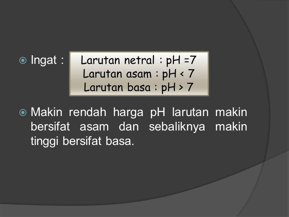  Ingat :  Makin rendah harga pH larutan makin bersifat asam dan sebaliknya makin tinggi bersifat basa. Larutan netral : pH =7 Larutan asam : pH < 7