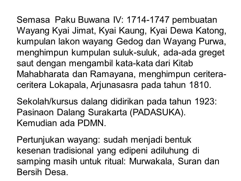 Semasa Paku Buwana IV: 1714-1747 pembuatan Wayang Kyai Jimat, Kyai Kaung, Kyai Dewa Katong, kumpulan lakon wayang Gedog dan Wayang Purwa, menghimpun k