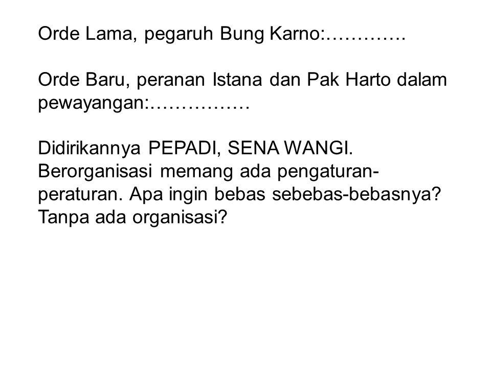 Orde Lama, pegaruh Bung Karno:…………. Orde Baru, peranan Istana dan Pak Harto dalam pewayangan:……………. Didirikannya PEPADI, SENA WANGI. Berorganisasi mem