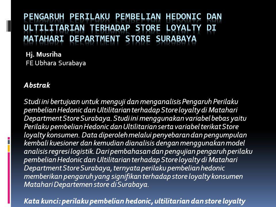 Abstrak Studi ini bertujuan untuk menguji dan menganalisis Pengaruh Perilaku pembelian Hedonic dan Ultilitarian terhadap Store loyalty di Matahari Dep