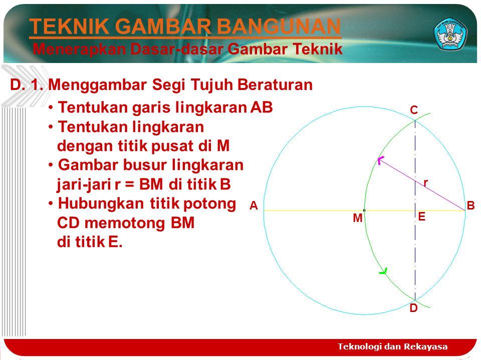Teknologi dan Rekayasa TEKNIK GAMBAR BANGUNAN Menerapkan Dasar-dasar Gambar Teknik D.