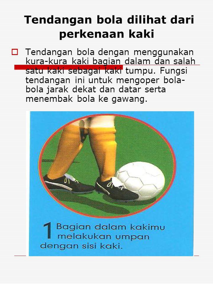 Tendangan bola dilihat dari perkenaan kaki  Tendangan bola dengan menggunakan kura-kura kaki bagian dalam dan salah satu kaki sebagai kaki tumpu.